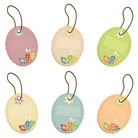 Set of easter cards on a cord.  Stock Vector - 8790510