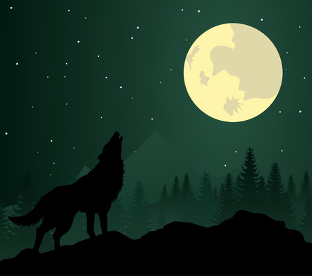 black wolf: Wild animal with burning eyes in night darkness