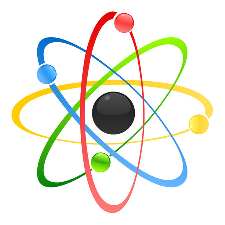 photons: Model of atom with a kernel. A vector illustration Illustration
