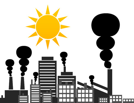 megacity: The sun rises over factory. A vector illustration Illustration