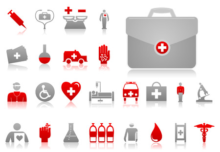 doctor tablet: Set of icons on a theme medicine. A vector illustration