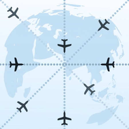 Routes of planes in the world. A vector illustration Stock Vector - 8912536