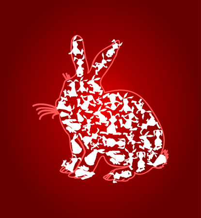 Rabbit made of set of rabbits. A vector illustration Stock Vector - 8912566
