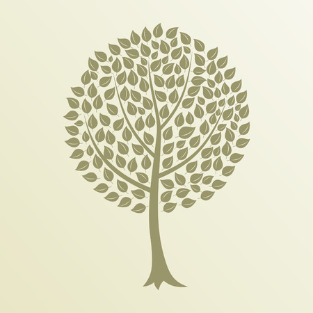 Tree with a roundish crone. A vector illustration Illustration