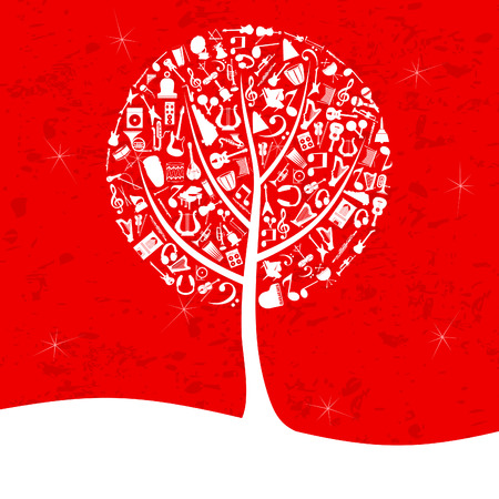 Musical tree on a red background. A vector illustration Vector