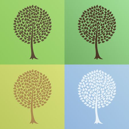 Tree at various times year. A vector illustration Vector