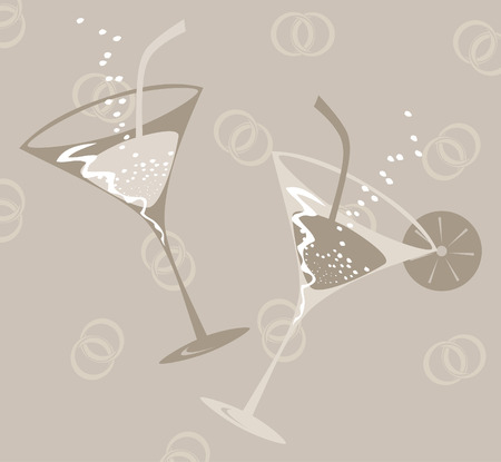 jeweller: Two glasses on wedding. A vector illustration