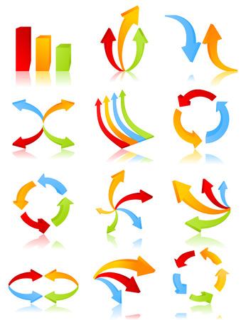 flecha azul: Icono de una flecha de diferentes tipos.