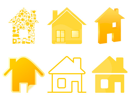 Set of icons of houses of gold colour.  Stock Vector - 9138667