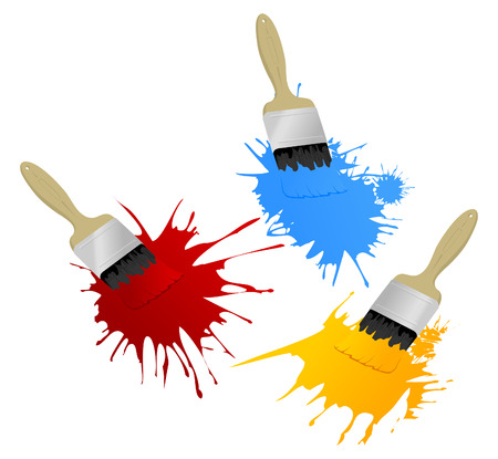 messy paint: Painting brushes leave blots.