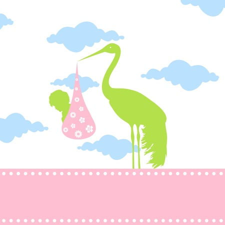 The stork bears the kid in a beak. A vector illustration Vector