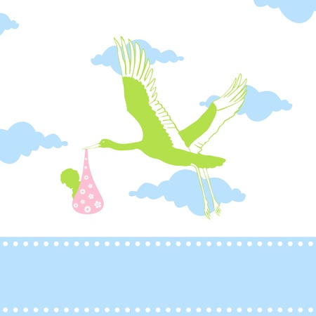 The stork bears the kid in a beak. A vector illustration Stock Vector - 9229030