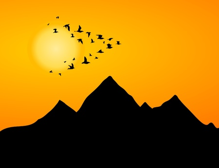 pigeon owl: The jamb of cranes flies by over mountain. A vector illustration