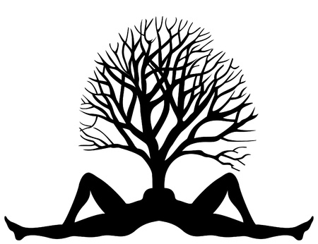 The tree grows from a body of the woman. A vector illustration Vector