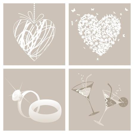 bague de fiancaille: Collection de symboles de mariage. Une illustration vectorielle