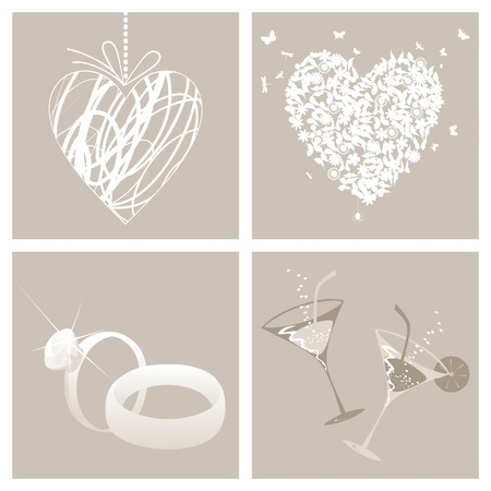 outline wedding: Collection from wedding symbols. A vector illustration