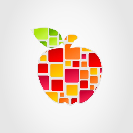 fruit stem: The apple is divided into squares