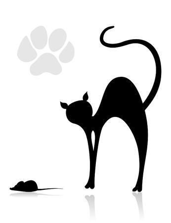large group of animals: El gato negro caza del rat�n