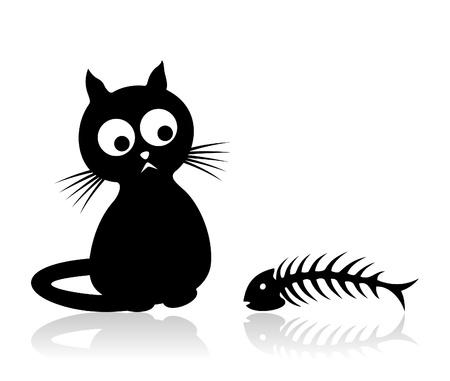 large group of animals: El gato se sienta y se ve en un hueso de pescado