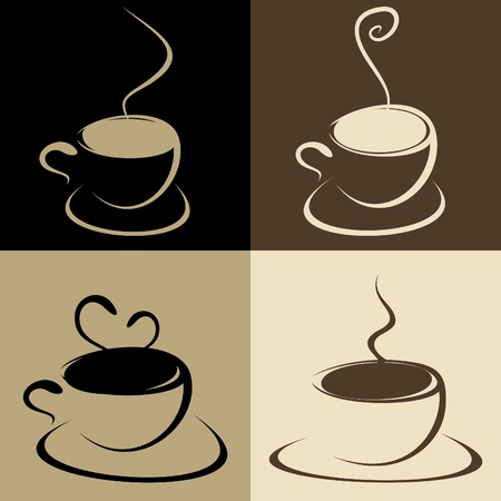 Set of mugs of coffee with a smoke Stock Vector - 9285091