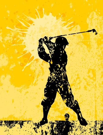 The golfer kicks the ball      Illustration