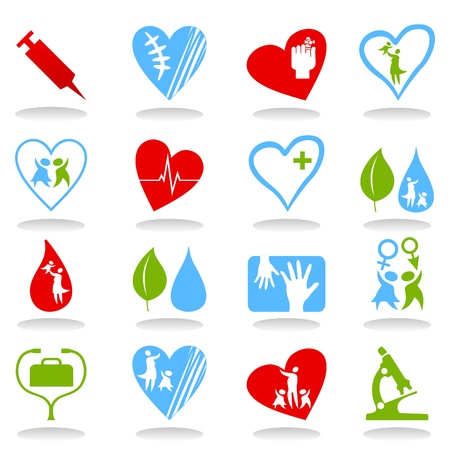family medicine: Collection of icons on a medical theme Illustration