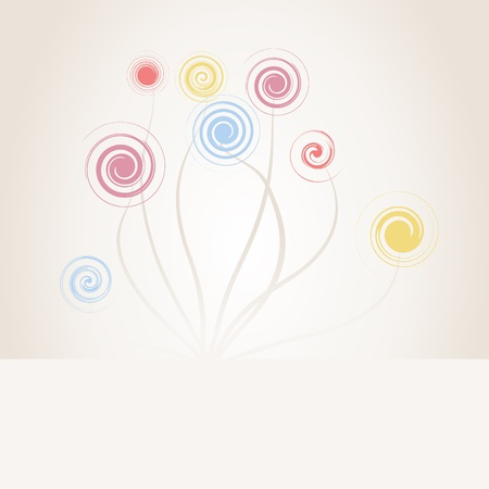 Abstract drawing of flowers of spirals Stock Vector - 9285097