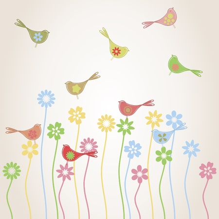 Birds fly over a glade with plants. A vector illustration