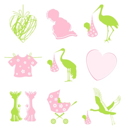 Set of icons on a children theme. A vector illustration Vector