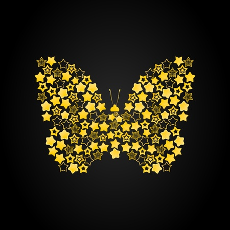 The butterfly combined from gold stars. A vector illustration Illustration