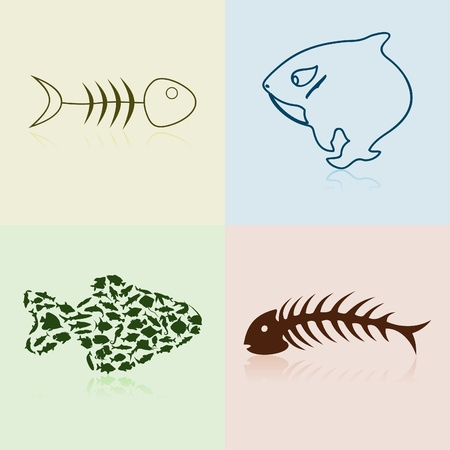 skeleton fish: Set of silhouettes of fishes and bones. A vector illustration