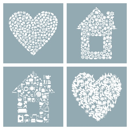 Collection of houses and hearts. A vector illustration Vector