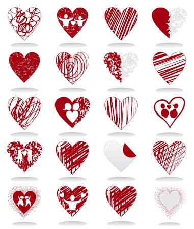 stoned: Set of icons of red hearts. A vector illustration Illustration