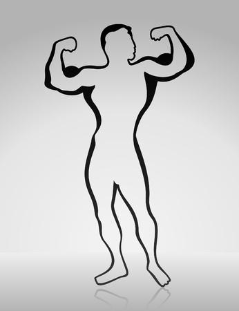 muscle training: El hombre muestra los m�sculos. Una ilustraci�n vectorial Vectores