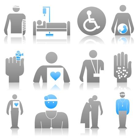 bandaging: Icons on a medicine theme. A vector illustration Illustration