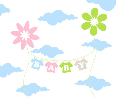 On a cord the childrens clothes dry. A vector illustration Vector