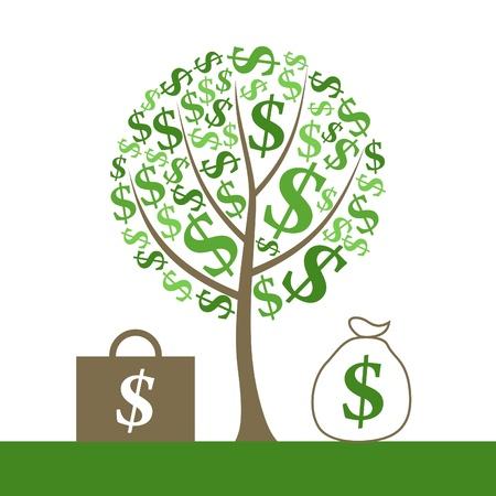 Monetary tree and portfolio of money. A vector illustration Vector