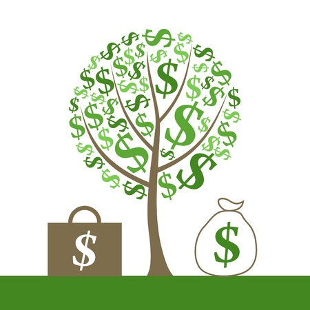 Monetary tree and portfolio of money. A vector illustration Vector