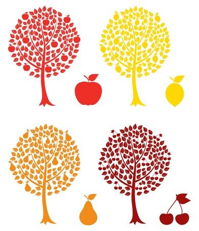 manzana: Conjunto de árboles frutales. Una ilustración vectorial