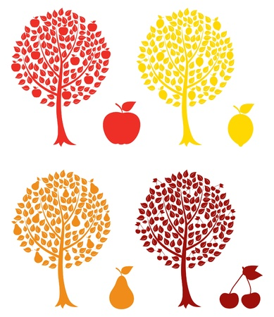 cherry wood: Set of fruit trees. A vector illustration