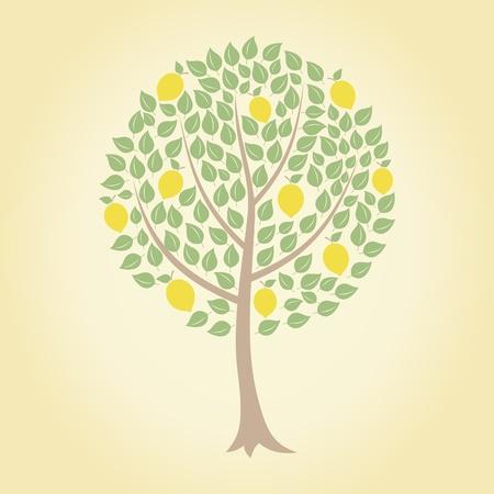 limon caricatura: �rbol y amarillo lim�n en �l. Una ilustraci�n vectorial