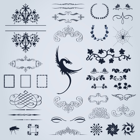 Collection of vector ornaments for design. A vector illustration