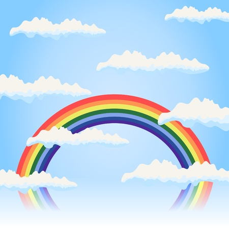 Rainbow in the blue sky. A vector illustration Stock Vector - 9601425