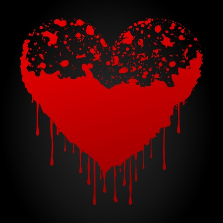 stoned: Bloody red heart on a black background.   Illustration