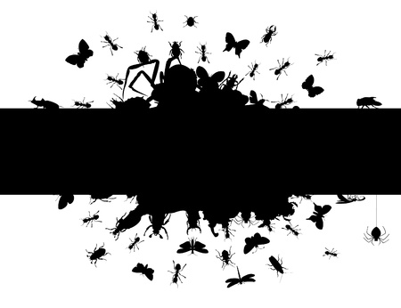 The black framework and insects creep from it.  Stock Vector - 9644454