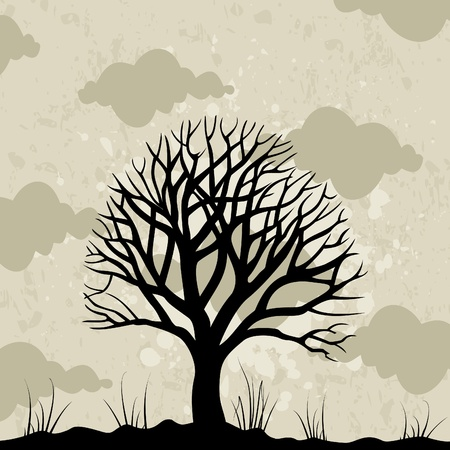Old tree against the grey sky.   Illustration