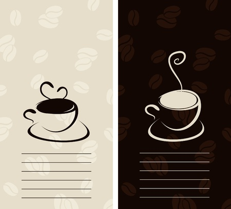 Set of mugs of coffee with a smoke. A vector illustration Vector