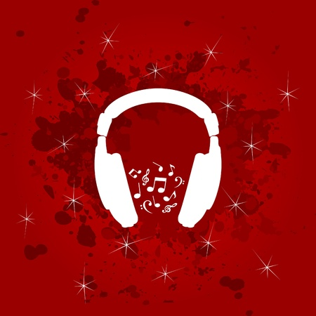 White ear-phones on a red background. A vector illustration Vector
