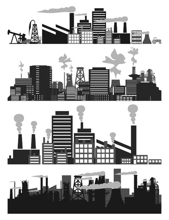 Set of factories and factories. A vector illustration Illustration