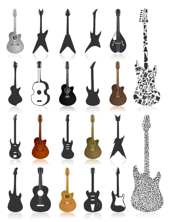 stratocaster: Set of icons of guitars. A vector illustration Illustration